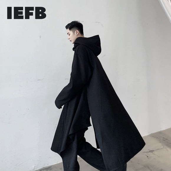 IEFB /men's wear spring design hooded multi-dressing pullover windbreaker black big size long sleeve clothes 9Y3987