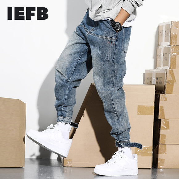 IEFB /men's wear Tide Work Clothes blue Jeans for Male 2021 spring Loose Haren Pants Directly denim blue Trousers Hip-hop 9Y1364