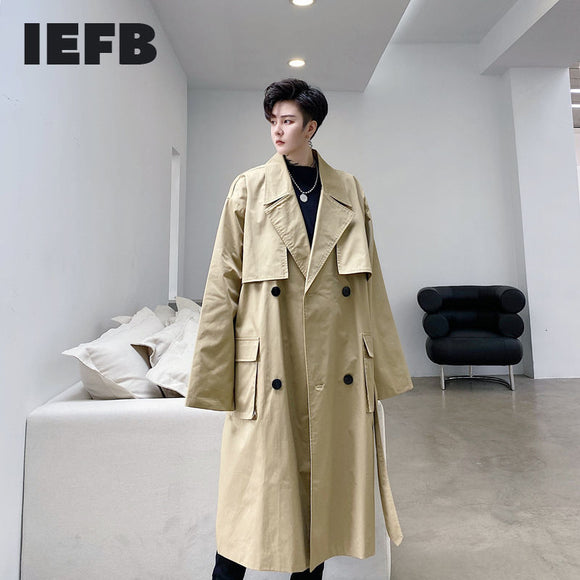 IEFB Men's Wear 2021 Spring New Double Breasted Bandage Belt Windbreaker For Male Lapel Big Size Mid-length Trench Coat 9Y3967