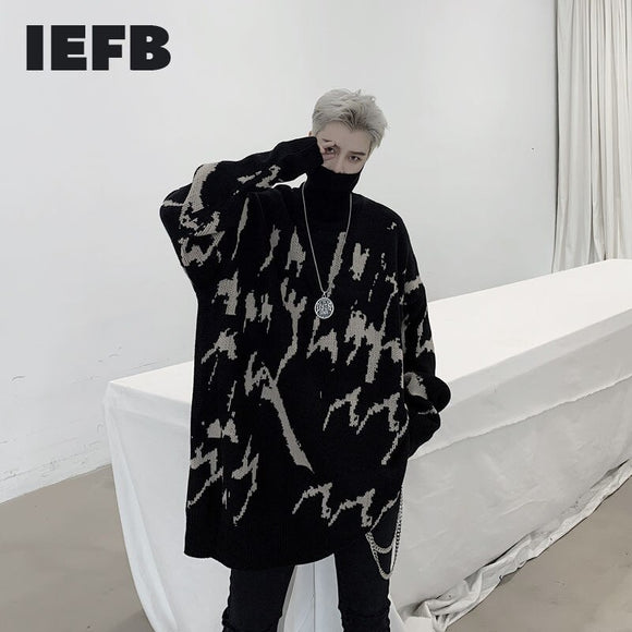 IEFB /men's wear 2020 autumn winter clothes geometric pattern jacquard turtleneck male's loose pullover thick sweater 9Y4062