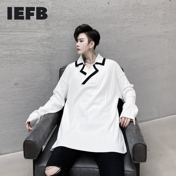 IEFB Men's Wear 2020 Autumn Color Block Patchwork Lapel Striped Male's Casual Thin Style Sweater Large Size Kintted Tops 9Y3412