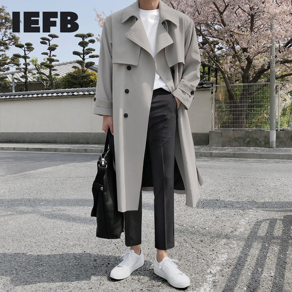IEFB spring winter men's mid length windbreaker male Korean fashion over the knee British style trench coat oversize coat 9Y4525