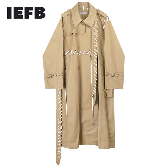 IEFB /men and women's wear 2021 spring  streetwear new trench Personality Rope Design Asymmetry patchwork long coat loose 9Y989