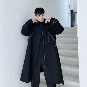 IEFB / men's wear strap design function mid-length trench coat for male profile over-knee coat spring black zipper windbreakers