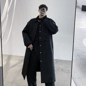 IEFB Winter new thickened cotton men's coat fashion casual rivet personalized oversized long coat for male black button 9Y4752