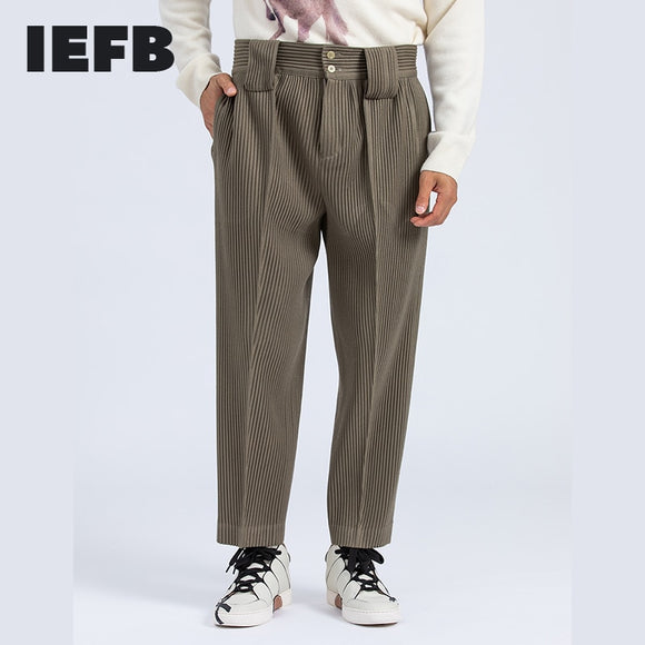 IEFB men's clothing Japanese streetwear fashion pleated pants autumn winter mid seam casual trousers for man harem pants 9Y4319