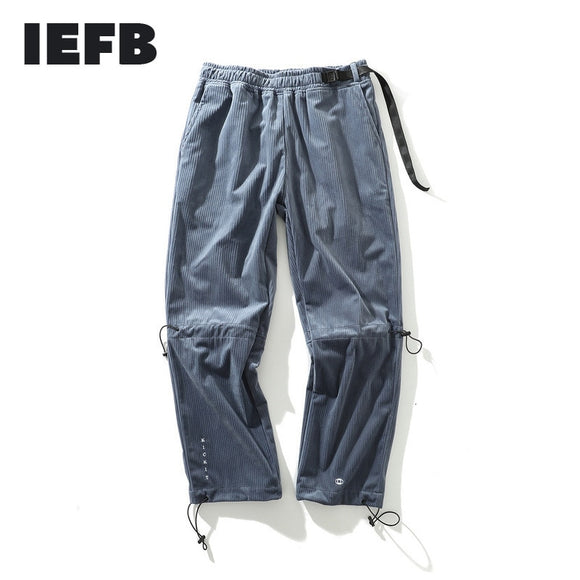 IEFB /Tide Hip-hop Men's Pants streetwear Letter Embroidered Loose Directly Casual Corduroy Trouers For Male And Female 19H-a84