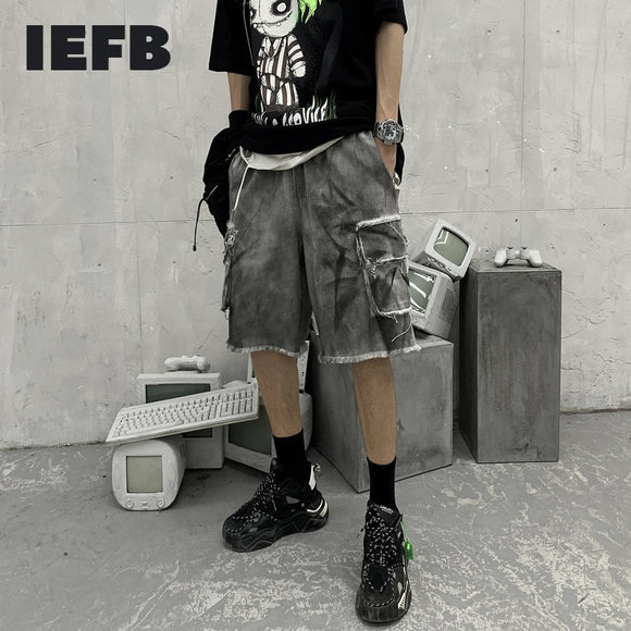 IEFB Streetwear Vintage Washing Work Clothes Shorts Men's Fashion Tassel Pocket Loose Straight Tie Dyed Elastic Waist Shorts New