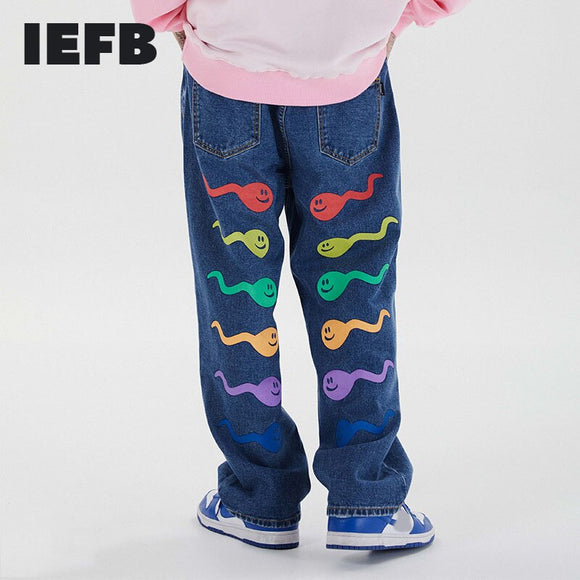 IEFB /men's wear 2021 spring New loose high street causal pants fashion Men's colorful tadpole letter printing trouers 9Y3236