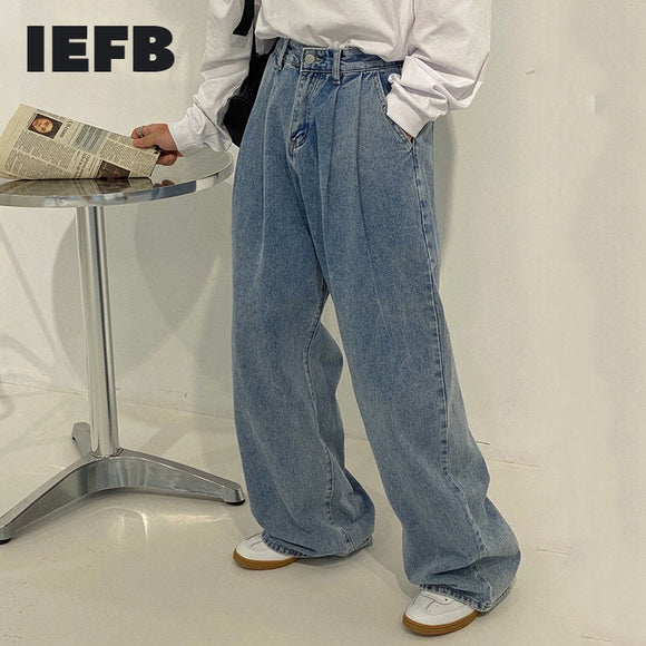 IEFB / men's wear Korean style wide leg pants fashionable high waist slimming dad loose straight mop jeans loose troursers Y4163