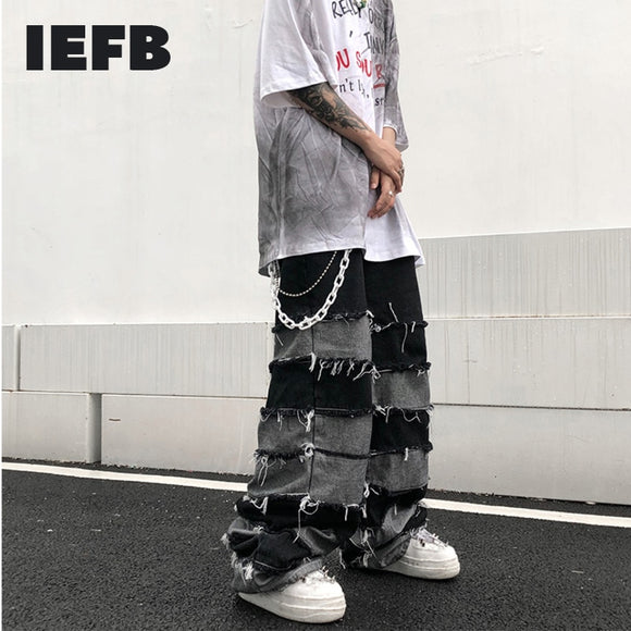 IEFB Tassel Straight Trousers Men's Fashion Broken Wide Leg Hip Hop Jeans For Men 2021 Couple's Pants Loose Trendy Clothes Y4212