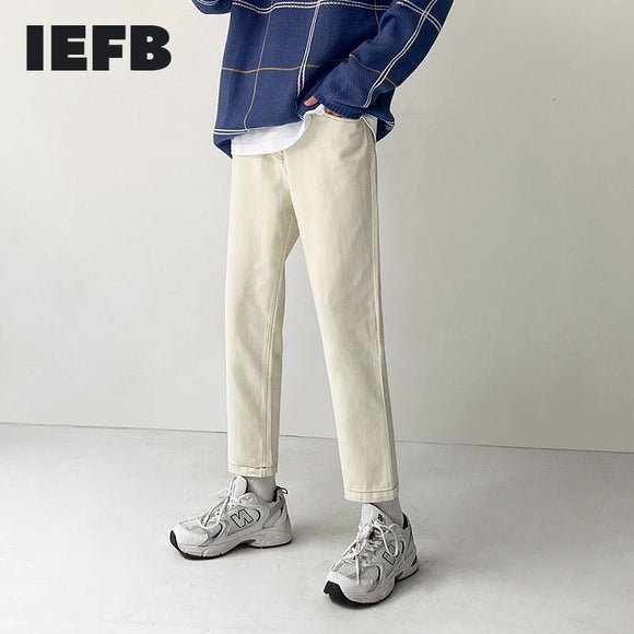 IEFB men's clothing new Korean trend spring denim pants mens vintage basic jeans slim fit trousers for male stright pants 9Y4372