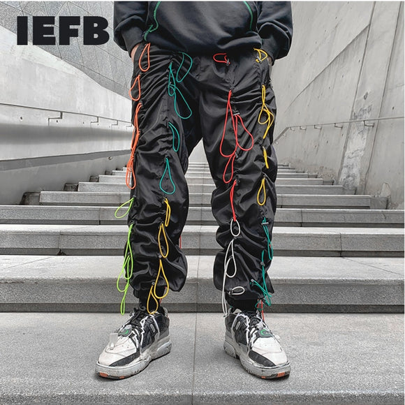 IEFB loose straight pants for men korean trend hip hop dance pants elastic waist colors strings drawstring black trousers 9Y4398