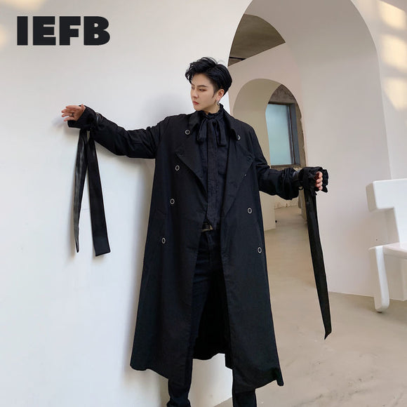 IEFB /men's wear spring new black double breasted long coat for male 2021 simple mid-length ribbon windbreaker trech 9Y3728