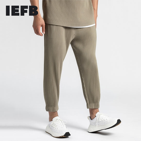 IEFB /men's wear Japanese trousers hot pressing pleated pants drawstring elastic waist closed bottoms ankle-length pants 9Y3284