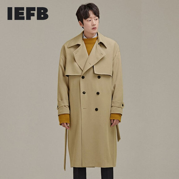 IEFB /men's wear spring new double-breasted trench 2021 new Korean style classic long coat all-match loose casual windbreaker