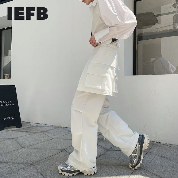 IEFB /men's wear niche personality three-dimensional pocket function fashion loose casual pants korean strendy buttoms 9Y2610