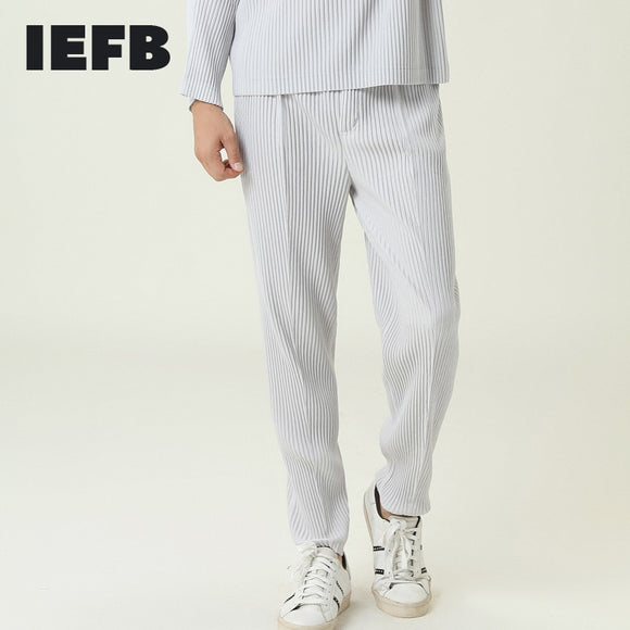 IEFB /men's wear pleated pants 2021 new spring japanese streetwear fashion loose black gray trousers male elastic waist 9Y3834