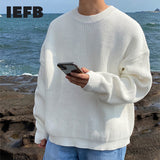 IEFB men's clothing autumn winter new round collar kintted sweater for male Korean trend simple loose oversize clothes 9Y4386