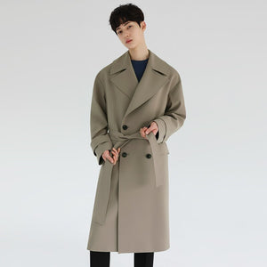 IEFB /men's wear spring loose solid color lapel men's mid-length trench coat khaki double breasted big size windbreaker 9Y4088