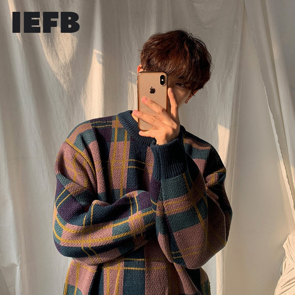 IEFB /men's wear autumn winter thickened sweater Korean fashion color block patchwork plaid loose veintage kintted tops male