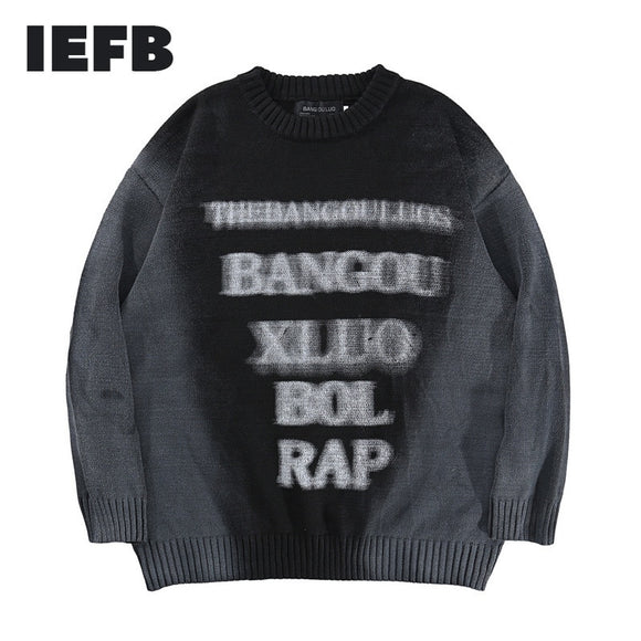 IEFB Trendy Streetwear Casual Rock Kint Pullovers For Lovers Hip Hop Letter Jacquard Sweater Men's Kintwear Clothes O-neck Y5122