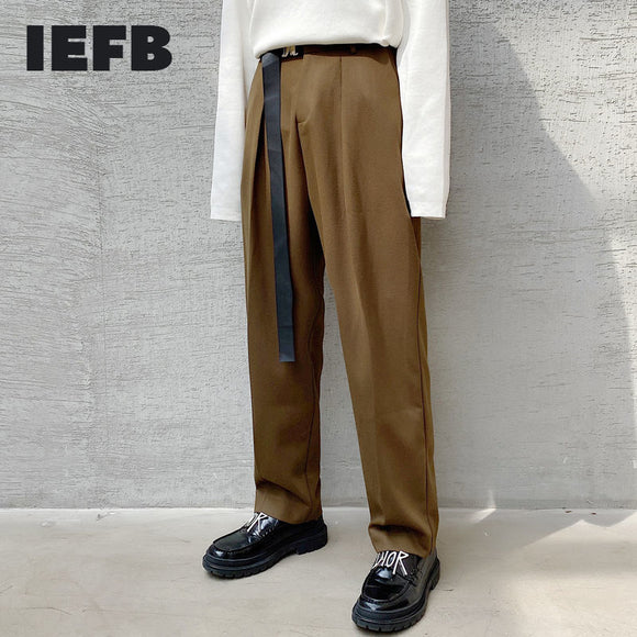 IEFB spring winter 2021 solid color metal buckle ribbon men's thick casual harem pants streetwear fashion trouers loose 9Y4443