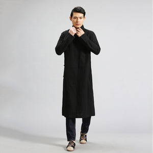 IEFB /men's wear Chinese style loose casual cotton linen black trench long coat men's diagonal cardigan clothes for male 9Y1231