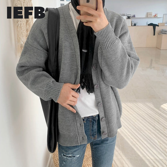 IEFB Korean cardigan kintted sweater for men trend single breasted kintted tops autumn winter vintage kintwear coat 9Y4542