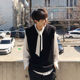 IEFB / men's wear autumn pullover sweater vest 2020 new fashion loose kintted waistcoat black sleeveless tops vintage 9Y3269