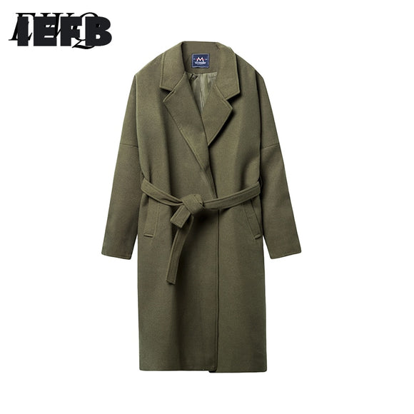 IEFB /men's wear Overknee Long coat 2020 fashion new Thickening Keep Warm Woolen Overcoat Male Tide Loose large size cloth 9Y879
