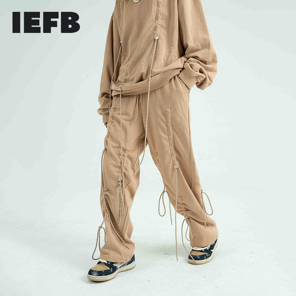 IEFB /men's wear high street fashion drawstring personalized sweatpants hip hop loose cotton straight casual pants couple 9Y3364