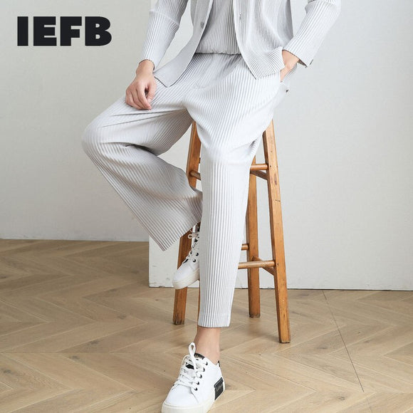 IEFB /men's wear spring new pleated casual straight pants 2021 trendy loose ankle-length elastic waist fold pants 9Y3843 JF150