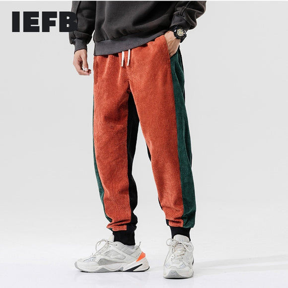IEFB men's clothing spring brick red loose casual corduroy sweatpants 2021 winter elastic waist sports trousers for women 9Y4387