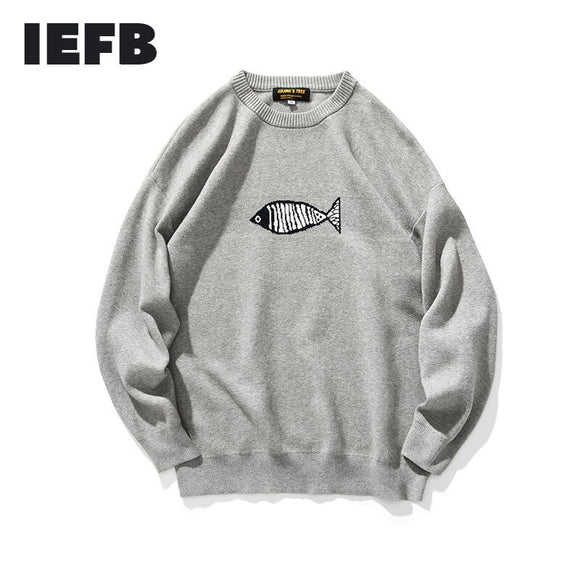 IEFB Men's Clothing Autumn Winter New Round Neck Sweaterpattern Embroidery Loose Casual Kintted Puyllovers Tops For Men 9Y3794