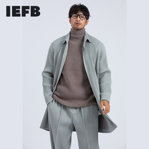 IEFB men's clothing thick streetwear Japanese fashion new pleated trench coat spring winter Lapel med length windbreaker 9Y4320