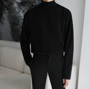 IEFB / men's wear solid color fashion long sleeve half turtleneck thin style sweater male's pullover korean sweater tops 9Y3270