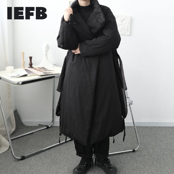 IEFB Men's Design Clothes Over The Knee  Warm Cotton Padded Jacket Loose Covered Button Oversized Black Long Winter Coat Male