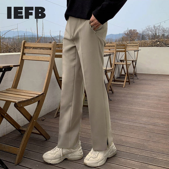 IEFB autumn winter Korean casual pants men's loose suit pants split bottoms wide leg pants mens straight pants slim trend 9Y4550