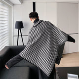 IEFB black white Plaid print Cloak Knit Sweater Men's Fashion Pullover kintwear Tops loose oversized irrgular clothes 9Y4686