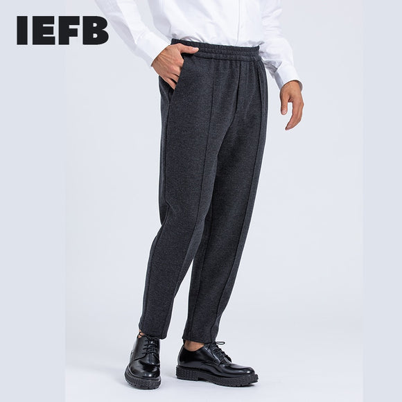 IEFB men's clothing warm Thick woollen trousers mid seam wool ankle-length pants for male elastic waist high quality harem pants