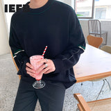 IEFB autumn winter Korean sweater men's loose crew neck kintwear fashion Pullover Tops basic vintage clothes for male new 9Y4503