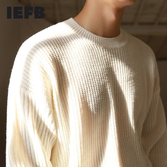 IEFB /men's wear autumn witner weater 2020 new pullover round collar Japanese style casual warm thin kintted tops male 9Y3241