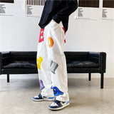 IEFB /men's wear Streetwear hip hop loose straight high waist wide leg pants male's color letter stereo printed trousers 9Y3756