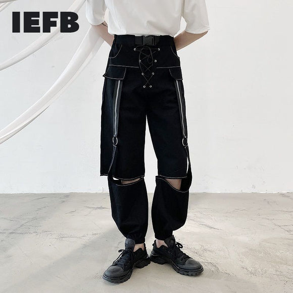 IEFB /men's wear niche personal bandage holes black trousers for male 2021 tide new fashionable japan style pants casual 9Y2674