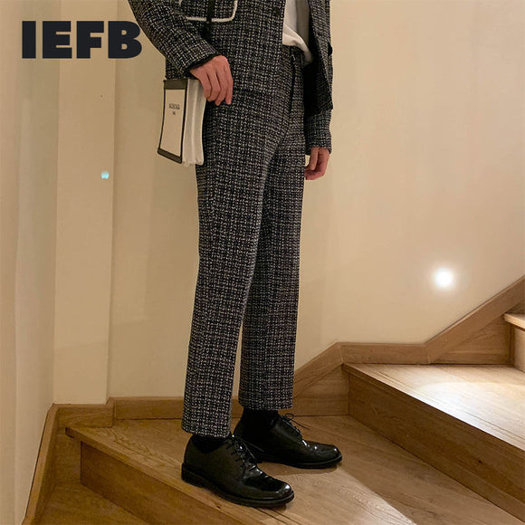 IEFB /men's wear straight casual suit pants for male 2021 spring new ankle-length pants zipper pockets trousers 9Y3903