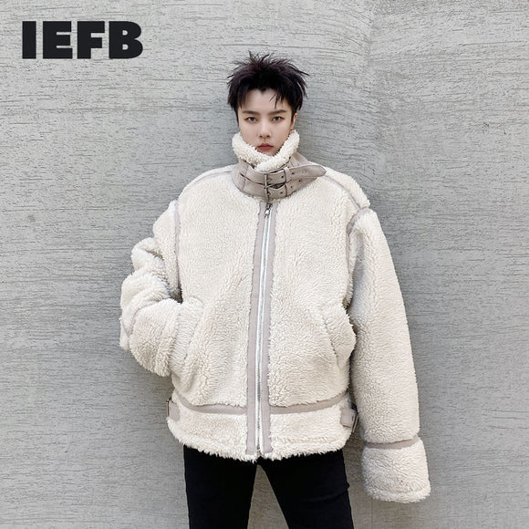 IEFB Winter clothes 2020 one-piece of fur thickened warm stand collar jacket men's loose cotton padded jacket oversized 9Y4440