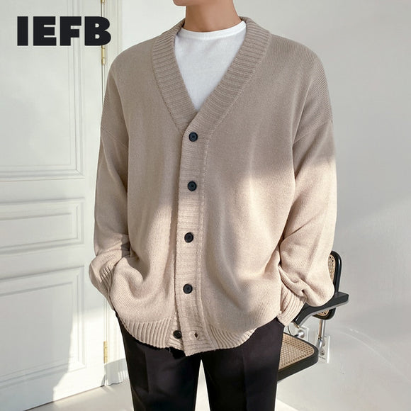 IEFB Korean single breasted v collar kintted cardigan sweater men's outerwear trendy handsome mens knitwear autumn winter 9Y4499