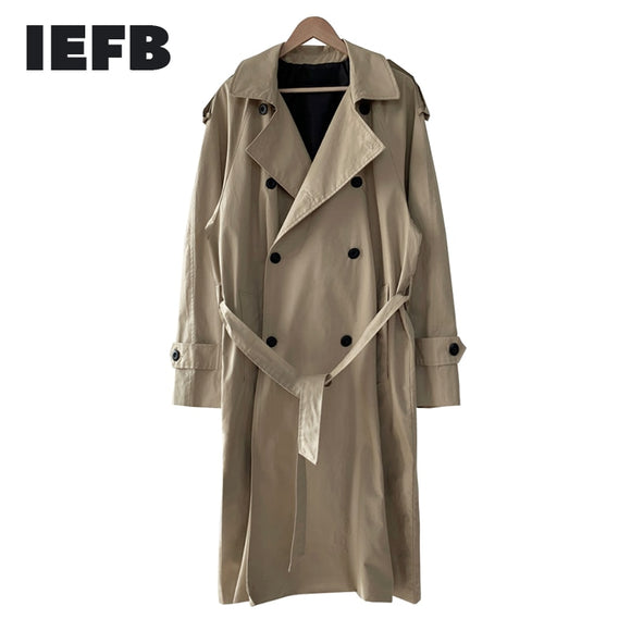 IEFB /men's wear 2021 spring  fashion new Overknee Handsome Windbreaker Trend Long coat oversize Overcoat Loose Coat 9Y888