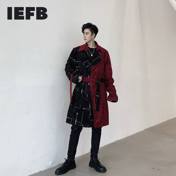 IEFB /men's wear 2021 spring color block split design loose men's mid-length corduroy trench coat belt new windbreaker 9Y4065